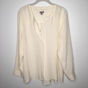 J.Jill Cream Silk Crepe Blouse Size L
